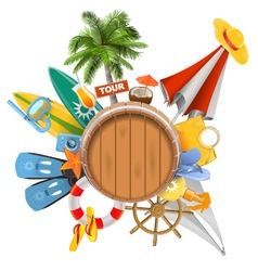 Beach Concept with Barrel vector image vector image