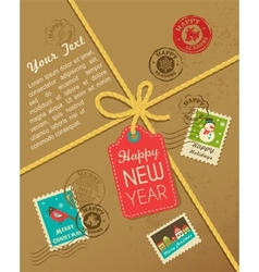 Christmas gift with vintage postage stamps vector image vector image