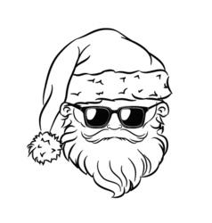 Hipster Santa Claus Head Sunglasses vector image vector image