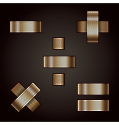 Letter metal gold ribbon - Mathematical signs vector image