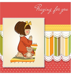 little girl praying vector image vector image