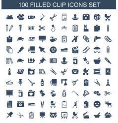 100 clip icons vector image