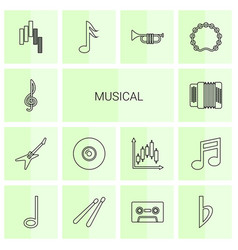 14 musical icons vector image