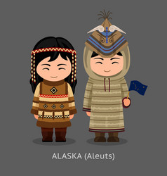 aleuts in national clothes with a flag vector image