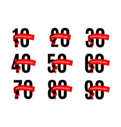 Anniversaries numbers with red ribbon vector