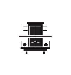 Balcony terrace black concept icon vector