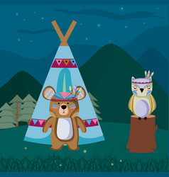 Bear and owl cute hippie cartoon vector