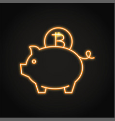 bitcoin saving concept icon in neon line style vector image