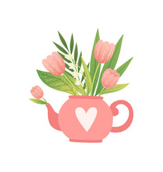 bouquet of pink flowers and leaves in teapot vector image