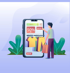 boy shopping from online shop vector image