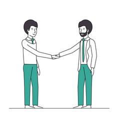 businessmen shaking hands characters vector image