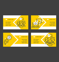 Call center business card people operator vector