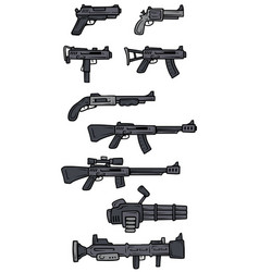 Cartoon black and white weapons icons vector