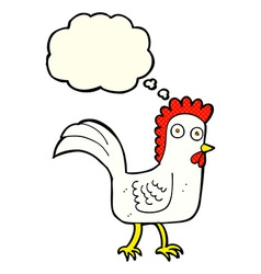Cartoon chicken with thought bubble vector