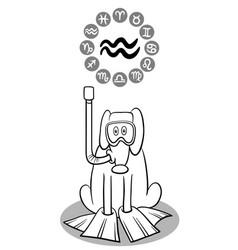 cartoon dog as aquarius zodiac sign vector image