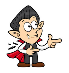 Cartoon dracula character directs direction vector