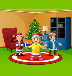 cartoon of happy kids in the living room with chri vector image