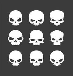 Cartoon skulls icons vector