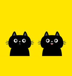 cat set black kitten kitty silhouette icon cute vector image