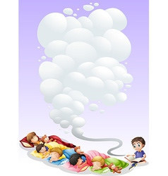 Children taking nap vector