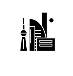 Chinese skyscrapers black icon sign on vector