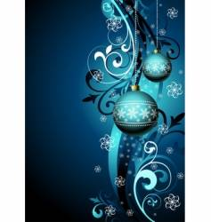 Christmas illustration with blue glass vector