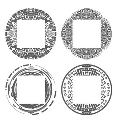 circular decorative geometric ethnic frame vector image
