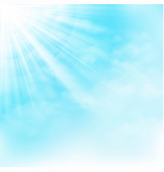 Clear sun shine on blue sky with clouds background vector