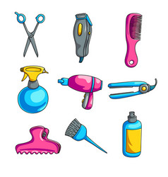 Colorful cartoon hairdressing set isolated on vector
