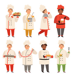 cook characters chef at kitchen cooking various vector image