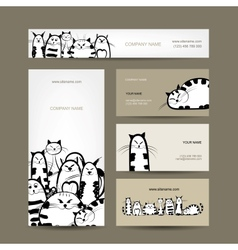 Corporate business cards design with funny striped vector