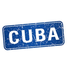 Cuba blue stamp isolated on white background vector
