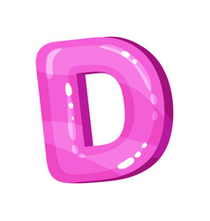 D pink glossy bright english letter kids font vector