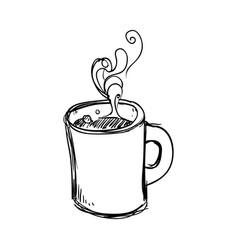 delicious coffee cup doodle vector image