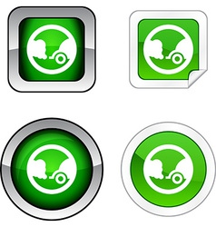 Ecology button set vector