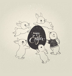 Egg with happy easter inscription and cute little vector