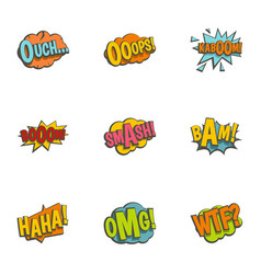 Emotions in speech bubble icons set flat style vector