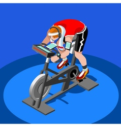 Exercise Bike Spinning Fitness Class 3D Flat Image vector