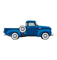 farm retro pickup drawing classic cartoon car vector image