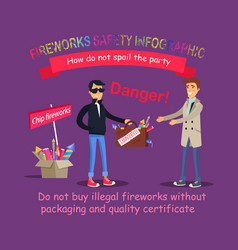 Fireworks safety infographic buying illegal thing vector