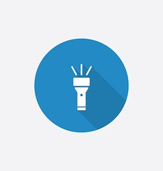 flashlight Flat Blue Simple Icon with long shadow vector image