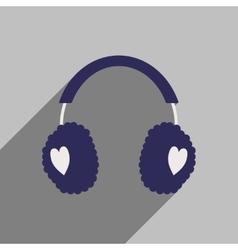 Flat icon with long shadow earmuffs hearts vector