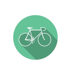 Flat Style Bicycle Inside Round Green Icon vector
