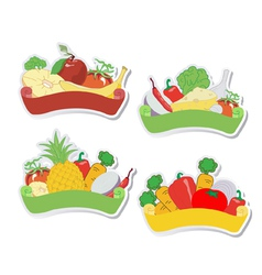Fruit and vegetables labels vector
