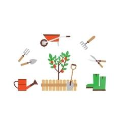 gardener with garden tools vector image