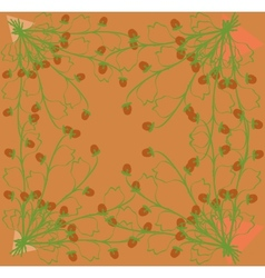 Gathering herbs strawberries on a bright orange vector image