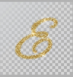Gold glitter powder letter e in hand painted style vector