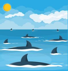 Group sharks at sea vector