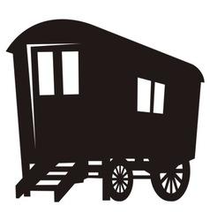 Gypsy caravan wagon silhouette vector
