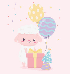 Happy birthday sheep gift box party hats and vector